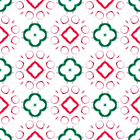 Red green circles seamless pattern. Hand drawn watercolor ornament. Admirable repeating design. Trending fabric cloth, swimwear design, wallpaper wrapping. Imagens