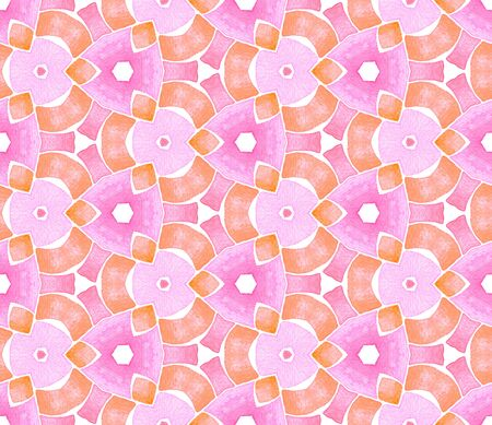 Pink orange vintage kaleidoscope seamless pattern. Hand drawn watercolor ornament. Surprising repeating tile. Vibrant fabric cloth, swimwear design, wallpaper, wrapping.