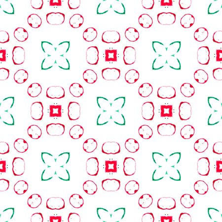Red green circles seamless pattern. Hand drawn watercolor ornament. Admirable repeating design. Fascinating fabric cloth, swimwear design, wallpaper wrapping.