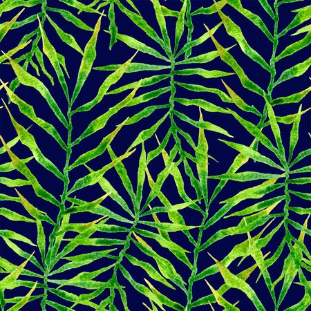 Tropical seamless pattern. Watercolor thorny palm leaves, japanese bamboo. Green exotic swimwear design. Summer tropic repeated print. Creative textile illustration.