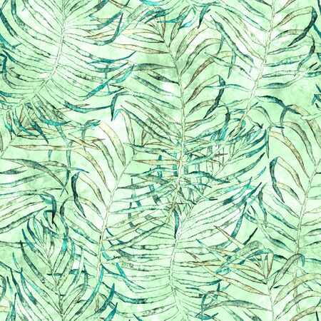 Tropical seamless pattern. Watercolor tangled palm leaves, japanese bamboo. Green exotic swimwear design. Summer tropic repeated print. Amazing textile illustration.