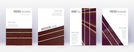 Geometric brochure design template set. Gold abstract lines on bordo background. Alive brochure design. Surprising catalog, poster, book template etc.