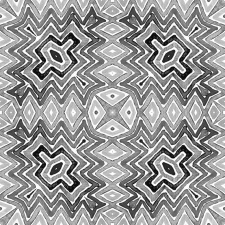 Black and white Geometric Watercolor. Creative Seamless Pattern. Hand Drawn Stripes. Brush Texture. Outstanding Chevron Ornament. Fabric Cloth Swimwear Design Wallpaper Wrapping.