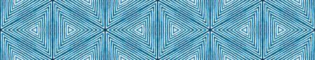 Blue Seamless Border Scroll. Geometric Watercolor Frame. Adorable Seamless Pattern. Medallion Repeated Tile. Breathtaking Chevron Ribbon Ornament.