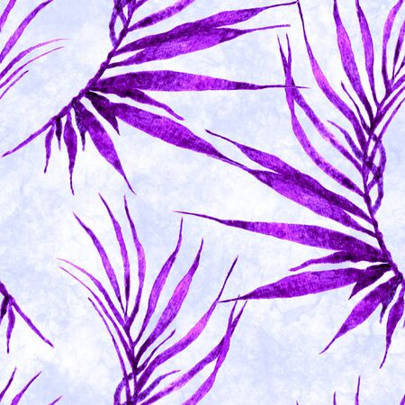 Tropical seamless pattern. Watercolor curved palm leaves, japanese bamboo. Purple exotic swimwear design. Summer tropic repeated print. Symmetrical textile illustration. Stock Photo