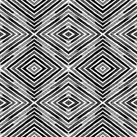 Dark black and white Geometric Watercolor. Decent Seamless Pattern. Hand Drawn Stripes. Brush Texture. Modern Chevron Ornament. Fabric Cloth Swimwear Design Wallpaper Wrapping. Banco de Imagens