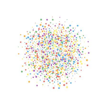 Festive confetti. Celebration stars. Rainbow bright stars on white background. Divine festive overlay template. Imaginative vector illustration.