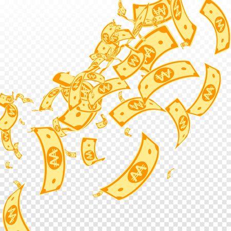 Korean won notes falling. Messy WON bills on transparent background. Korea money. Dazzling vector illustration. Radiant jackpot, wealth or success concept.