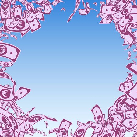 European Union Euro notes falling. Messy EUR bills on blue sky background. Europe money. Amusing vector illustration. Amazing jackpot, wealth or success concept.