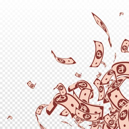 Russian ruble notes falling. Messy RUB bills on transparent background. Russia money. Bizarre vector illustration. Valuable jackpot, wealth or success concept.  イラスト・ベクター素材