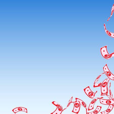 British pound notes falling. Floating GBP bills on blue sky background. United Kingdom money. Astonishing vector illustration. Resplendent jackpot, wealth or success concept.