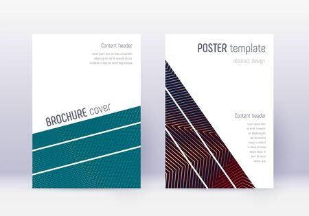Geometric cover design template set. Red abstract lines on white blue background. Captivating cover design. Curious catalog, poster, book template etc.