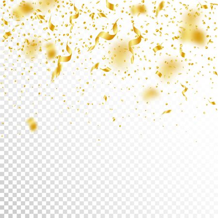 Streamers and confetti. Gold tinsel and foil ribbons. Confetti gradient on white transparent background. Beauteous paty overlay template. Delightful celebration concept.