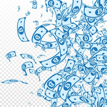 Bitcoin, internet currency notes falling. Messy BTC bills on transparent background. Cryptocurrency, digital money. Admirable vector illustration. Pretty jackpot, wealth or success concept.