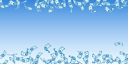 Bitcoin, internet currency notes falling. Floating BTC bills on blue sky background. Cryptocurrency, digital money. Alluring vector illustration. Fabulous jackpot, wealth or success concept.