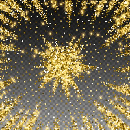 Sparkling gold luxury sparkling confetti. Scattered small gold particles on trasparent background. Admirable festive overlay template. Unusual vector illustration. Ilustrace