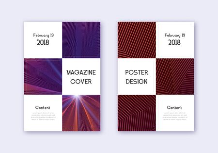 Business cover design template set. Violet abstract lines on dark background. Beauteous cover design. Splendid catalog, poster, book template etc.