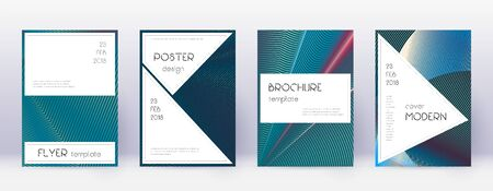 Stylish brochure design template set. Red abstract lines on white blue background. Bewitching brochure design. Enchanting catalog, poster, book template etc. 写真素材 - 128615018