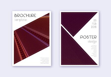 Triangle cover design template set. Orange abstract lines on wine red background. Imaginative cover design. Appealing catalog, poster, book template etc. Ilustração