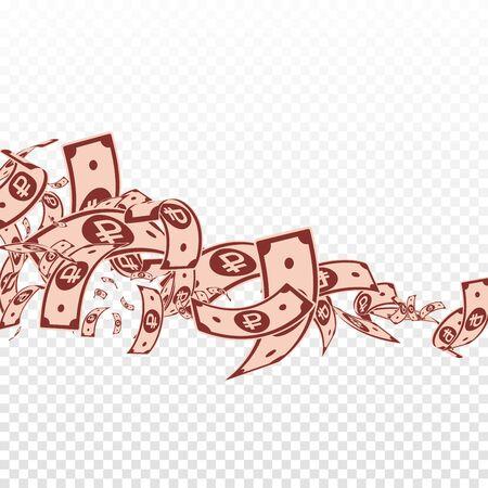 Notes de rouble russe tombant. Factures RUB en désordre sur fond transparent. L'argent de la Russie. Illustration vectorielle audacieuse. Concept fabuleux de jackpot, de richesse ou de réussite.