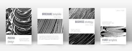 Cover page design template. Minimalistic brochure layout. Classic trendy abstract cover page. Black and white grunge texture background. Modern poster.
