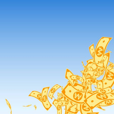 Korean won notes falling. Messy WON bills on blue sky background. Korea money. Dazzling vector illustration. Cute jackpot, wealth or success concept.