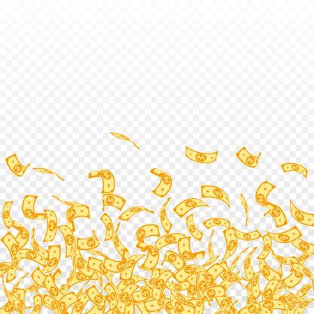 Korean won notes falling. Small WON bills on transparent background. Korea money. Decent vector illustration. Great jackpot, wealth or success concept.  イラスト・ベクター素材