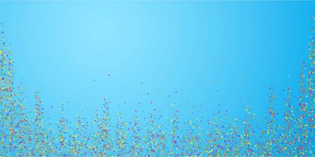 Festive confetti. Celebration stars. Childish bright stars on blue sky background. Decent festive overlay template. Actual vector illustration.