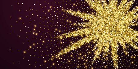 Sparkling gold luxury sparkling confetti. Scattered small gold particles on red maroon background. Alive festive overlay template. Captivating vector illustration. Illusztráció