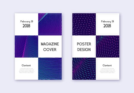 Business cover design template set. Neon abstract lines on dark blue background. Authentic cover design. Memorable catalog, poster, book template etc.