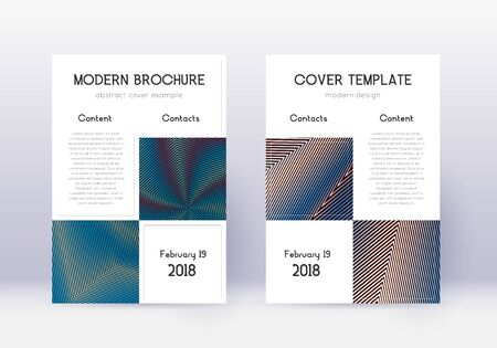 Business cover design template set. Red abstract lines on white blue background. Astonishing cover design. Modern catalog, poster, book template etc. Иллюстрация