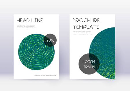 Trendy cover design template set. Green abstract lines on dark background. Fresh cover design. Beauteous catalog, poster, book template etc.