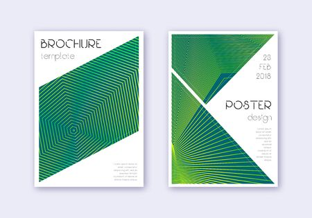 Triangle cover design template set. Green abstract lines on dark background. Ideal cover design. Actual catalog, poster, book template etc.