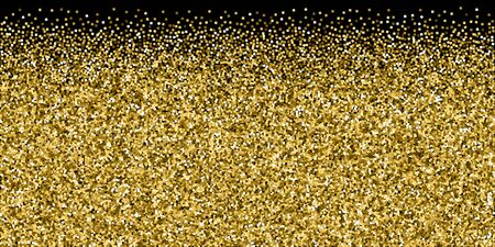 Gold glitter luxury sparkling confetti. Scattered small gold particles on black background. Brilliant festive overlay template. Interesting vector illustration.