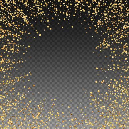 Gold confetti luxury sparkling confetti. Scattered small gold particles on transparent background. Appealing festive overlay template. Fabulous vector illustration. Иллюстрация