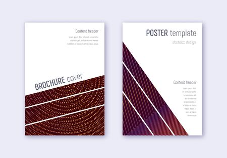 Geometric cover design template set. Orange abstract lines on wine red background. Breathtaking cover design. Valuable catalog, poster, book template etc.