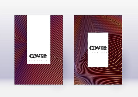Hipster cover design template set. Orange abstract lines on wine red background. Classic cover design. Modern catalog, poster, book template etc. Illustration