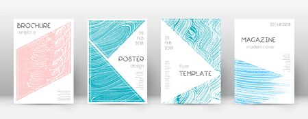Cover page design template. Triangle brochure layout. Comely trendy abstract cover page. Pink and blue grunge texture background. Attractive poster.
