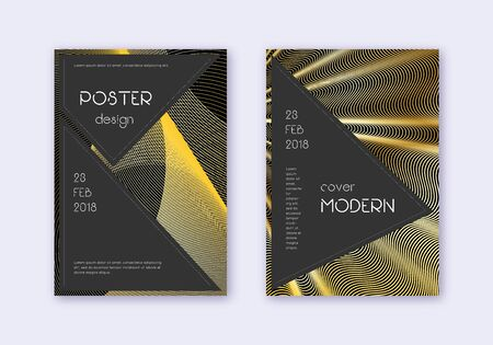 Black cover design template set. Gold abstract lines on black background. Actual cover design. Alluring catalog, poster, book template etc. Illusztráció