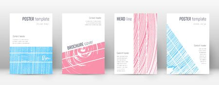 Cover page design template. Geometric brochure layout. Bold trendy abstract cover page. Pink and blue grunge texture background. Eminent poster.