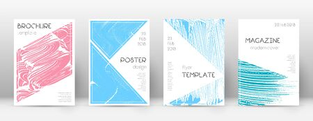 Cover page design template. Triangle brochure layout. Classy trendy abstract cover page. Pink and blue grunge texture background. Shapely poster. Illusztráció
