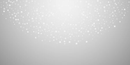 Random falling stars Christmas background. Subtle flying snow flakes and stars on light grey background. Beautiful winter silver snowflake overlay template. Magnificent vector illustration.