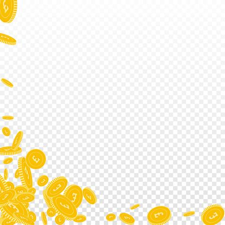 British pound coins falling. Scattered floating GBP coins on transparent background. Actual abstract left bottom corner vector illustration. Jackpot or success concept. Illusztráció