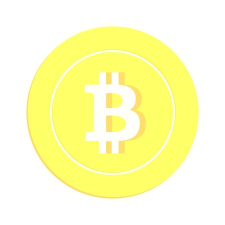 Bitcoin, internet currency coin isolated on white background. BTC gold yellow coin. Cryptocurrency, digital metal money. Enchanting cartoon vector illustration.