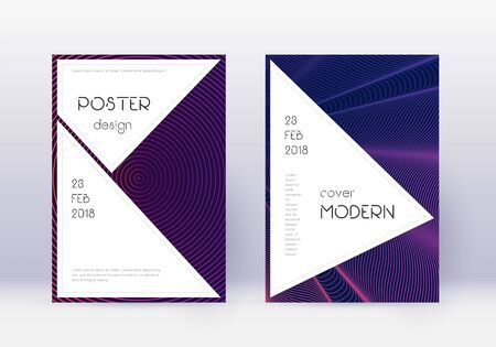 Stylish cover design template set. Violet abstract lines on dark background. Fascinating cover design. Interesting catalog, poster, book template etc.