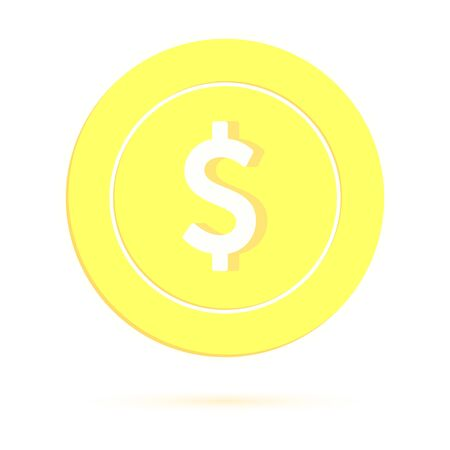 American dollar coin isolated on white background. USD gold yellow coin. USA metal money. Mind-blowing cartoon vector illustration. Illusztráció
