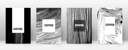Cover page design template. Hipster brochure layout. Breathtaking trendy abstract cover page. Black and white grunge texture background. Grand poster.  イラスト・ベクター素材