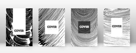 Cover page design template. Hipster brochure layout. Breathtaking trendy abstract cover page. Black and white grunge texture background. Impressive poster.  イラスト・ベクター素材