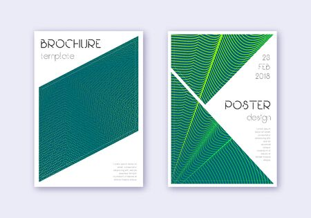 Triangle cover design template set. Green abstract lines on dark background. Ideal cover design. Comely catalog, poster, book template etc.