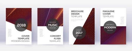 Modern brochure design template set. Orange abstract lines on wine red background. Awesome brochure design. Terrific catalog, poster, book template etc.  イラスト・ベクター素材